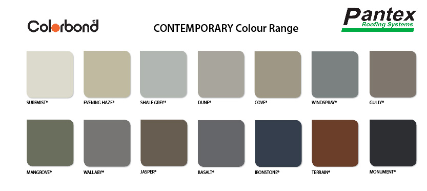 COLORBOND Contemporary Colour Range